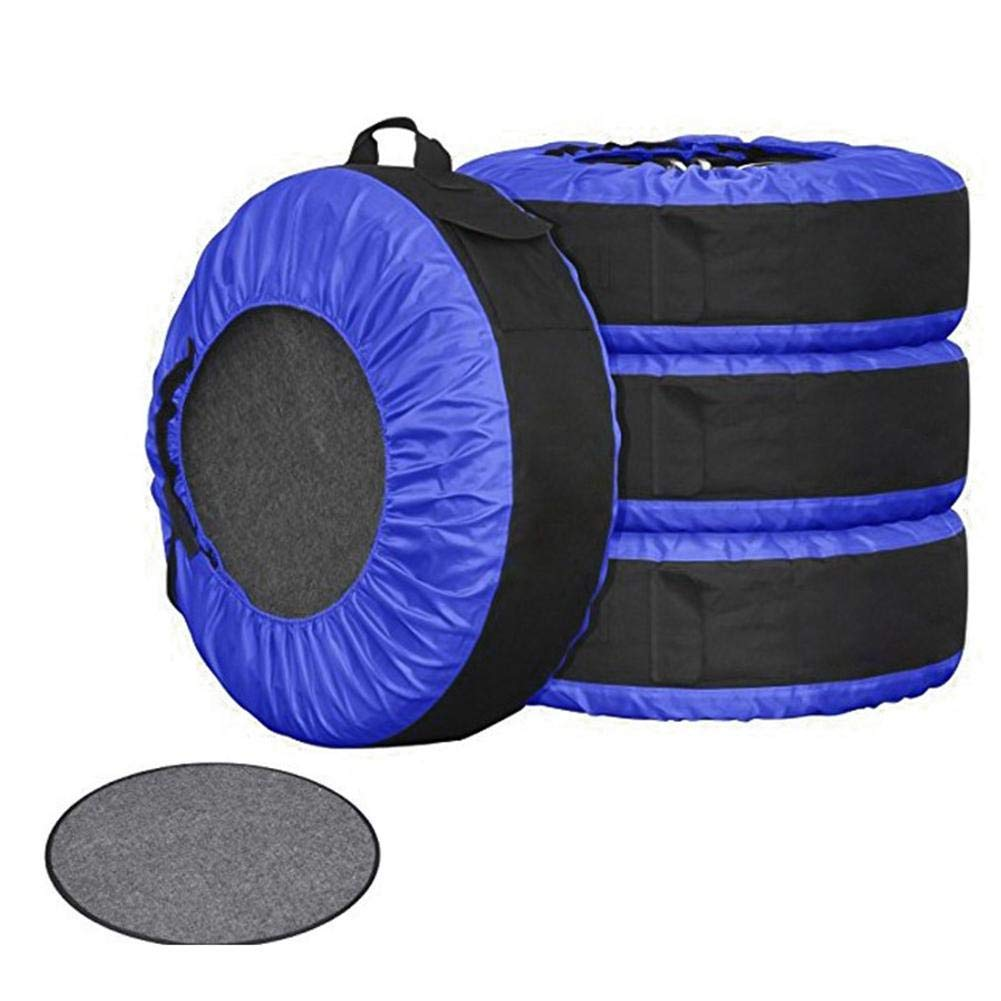 heling896 Spare Tire Cover Pack Of 4, Spare Tire Cover Adjustable Spare Tyre Wheel Protection Covers Waterproof Tire Tote Storage Bag For Cars Truck Van(16-22 inches tire)