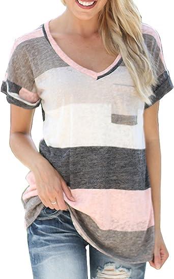 Gavemenget Mujeres Casual Manga Corta Camisa Rayadas Patchwork Elástico Jerseys Verano Camisetas Cuello V Blusa Tops: Amazon.es: Ropa y accesorios