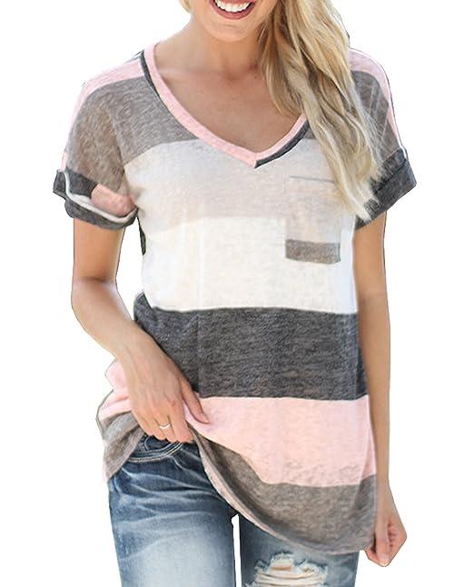 Mujeres Verano Camisetas Sudadera Casual Manga Corta Cuello V Camisa Rayadas Patchwork Elástico T Shirt Tops