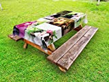 Lunarable Spa Outdoor Tablecloth, Spa Day Collage with Orchids Stone Pebbles Natural Herbal Oils Body and Mind Treatment, Decorative Washable Picnic Table Cloth, 58 X 104 inches, Multicolor