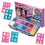 Face Paint Kit with 30 Stencils for Kids. X-Large Jumbo Palette, Sturdy Case with 12 Colors, 3 Brushes & Glitter Gel. Professional Water-Based Non-Toxic Face & Body Painting Set, Bonus Online Guide