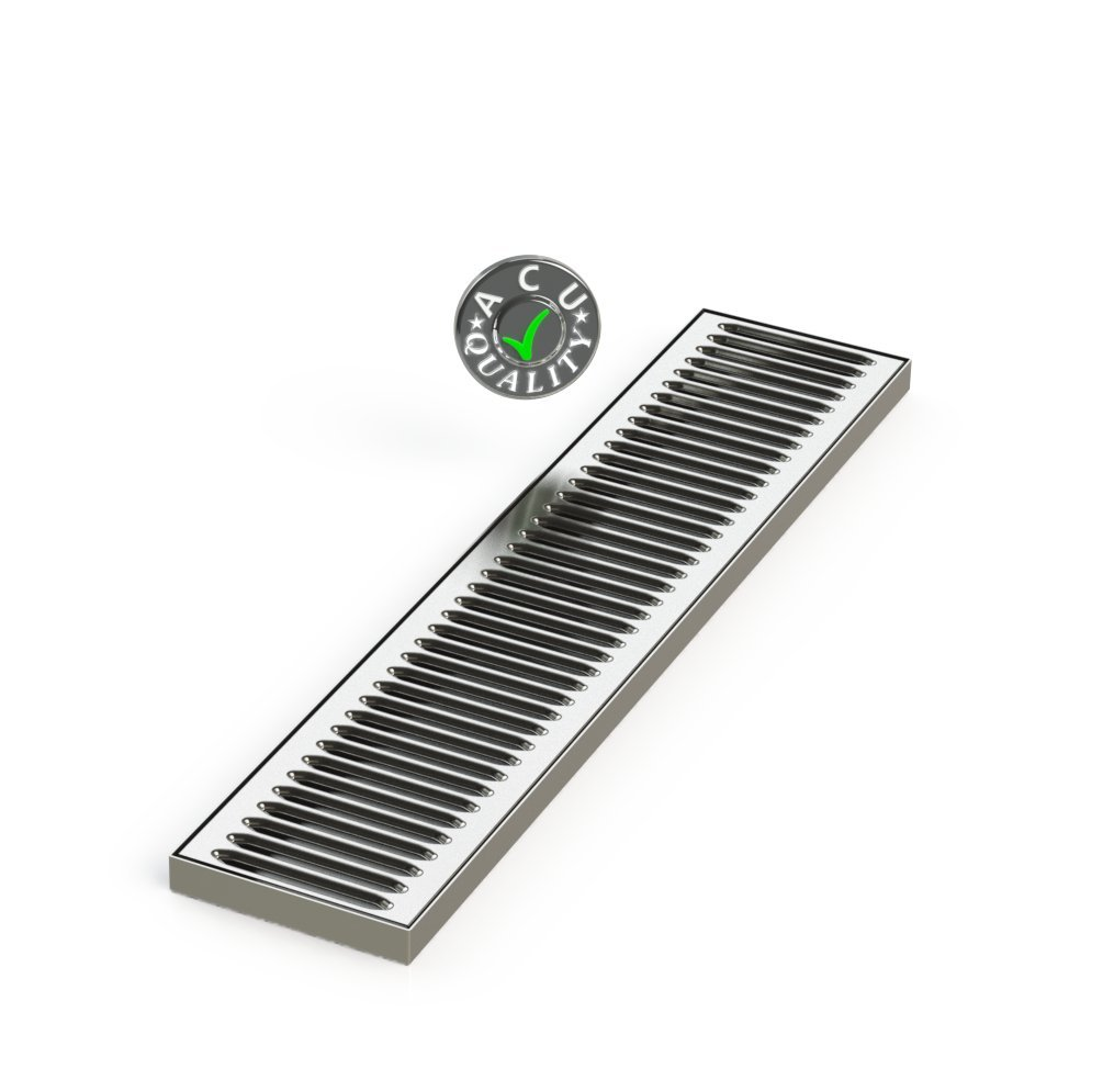 """ACU Precision Sheet Metal 0100-24 Surface Mount Drip Tray, No Drain, Stainless Steel, 4 Brushed Finish, 5"""" x 24"""" x 3/4"""", Silver"""