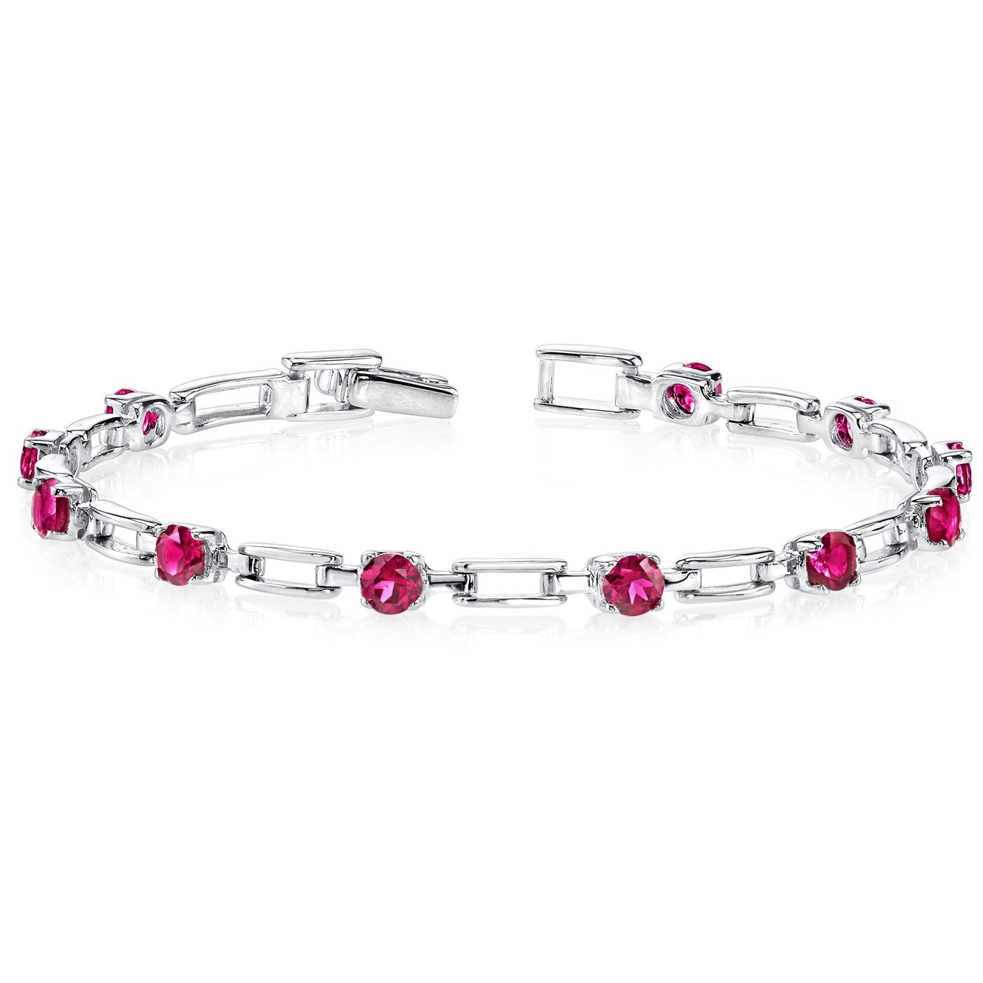 Created Ruby Bracelet Sterling Silver Link Style
