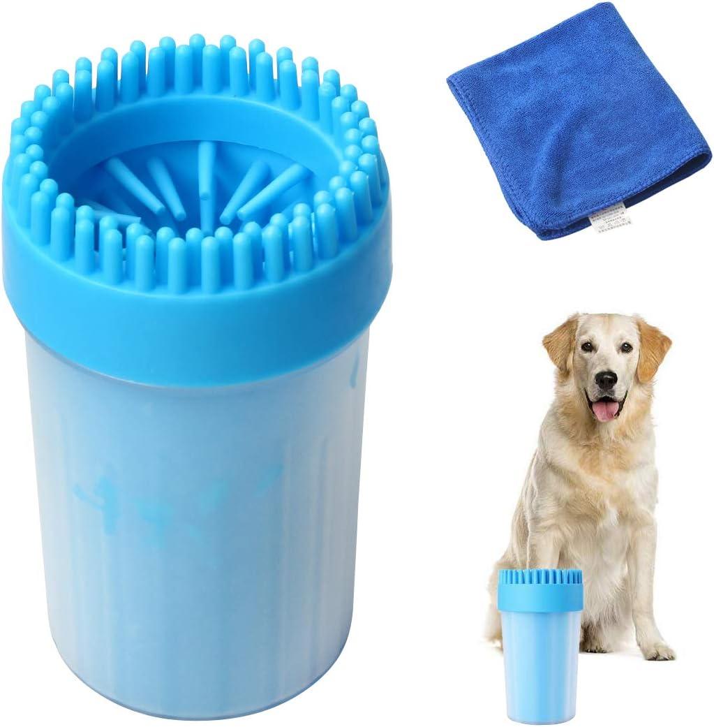 Kitchnexus - Limpiador de Huellas de Perros, Limpiador de Silicona, Cepillo de Limpieza de pies para Mascotas, con una Toalla