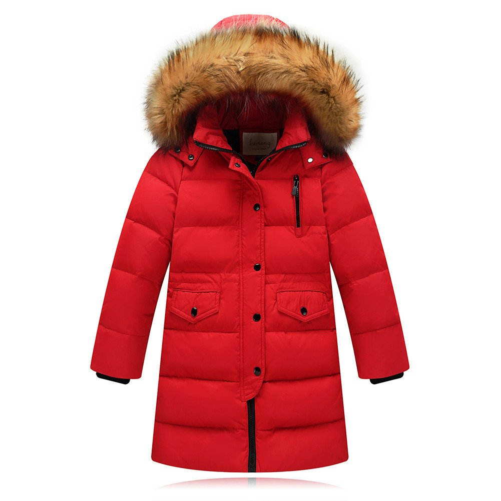 Beide Kids Girls Boys Winter Down Coat Puffer Long Jacket Outwear with Fur Hood