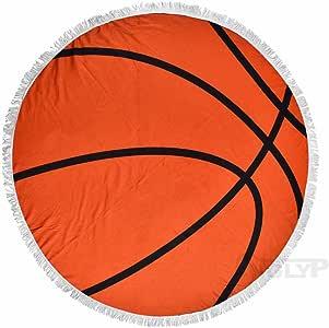 X.Sem 62'' Baseball Softball Design Massiness Tapestry Beach Towel Round Mandala with Tassel Fringing Beach Throw Roundie Sports Yoga Mat Table Cloth Large Blanket (Basketball)