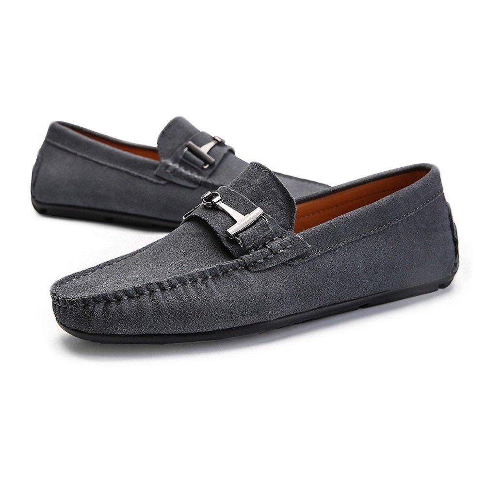 Zapatos de Cuero Genuino de la Moda para Hombres Mocasines de conducción Suede Penny Mocasines Suela de Tachuelas con botón de Metal Decoración Zapatos sin ...