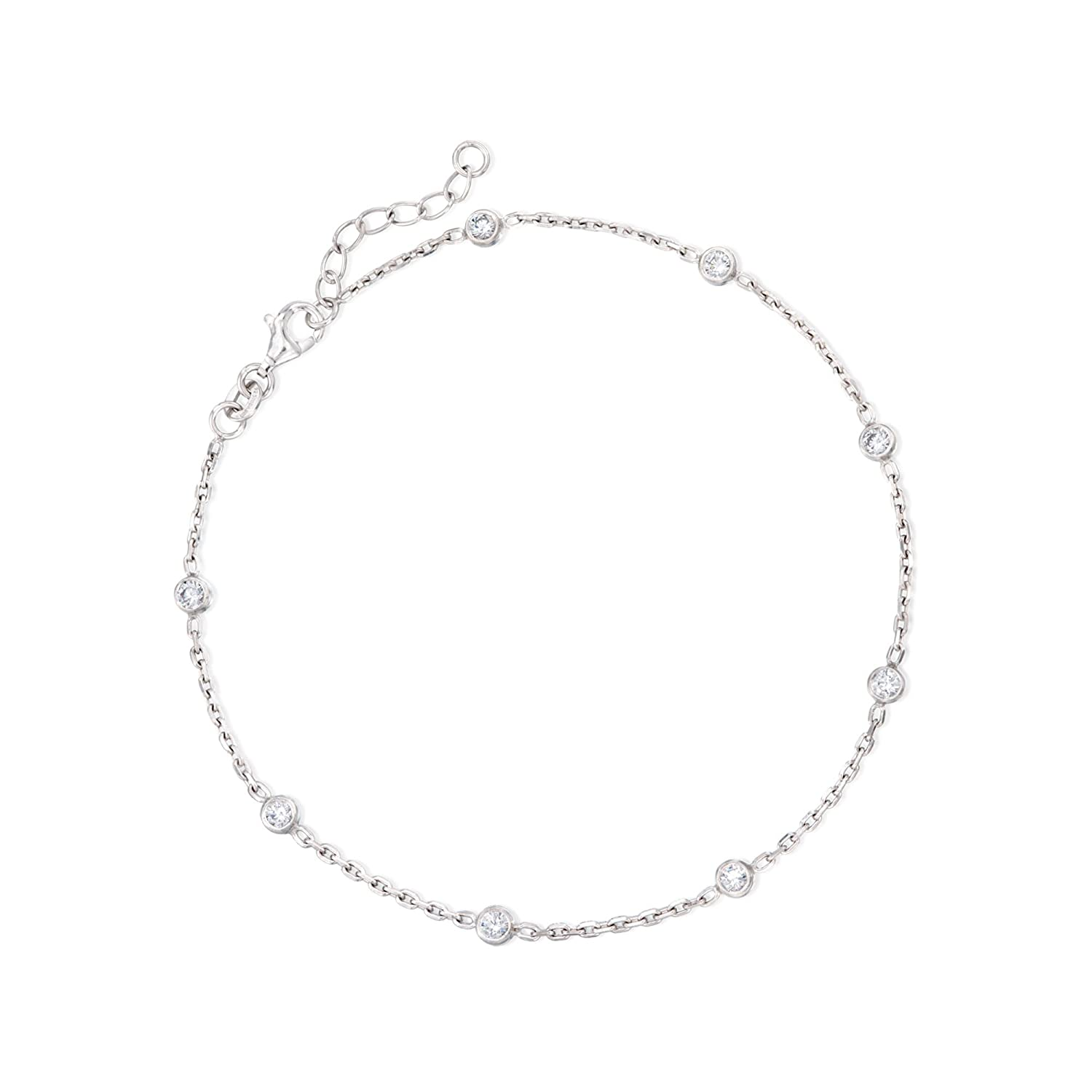 Ross-Simons .80 ct. t.w. CZ Station Anklet in Sterling Silver