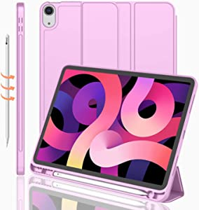 iMieet iPad Air 4 Case 2020 - iPad Air 4th Generation Case 10.9 Inch Lightweight Slim Cover with Translucent Frosted Hard Back [Support Touch ID](Pastel Violet)