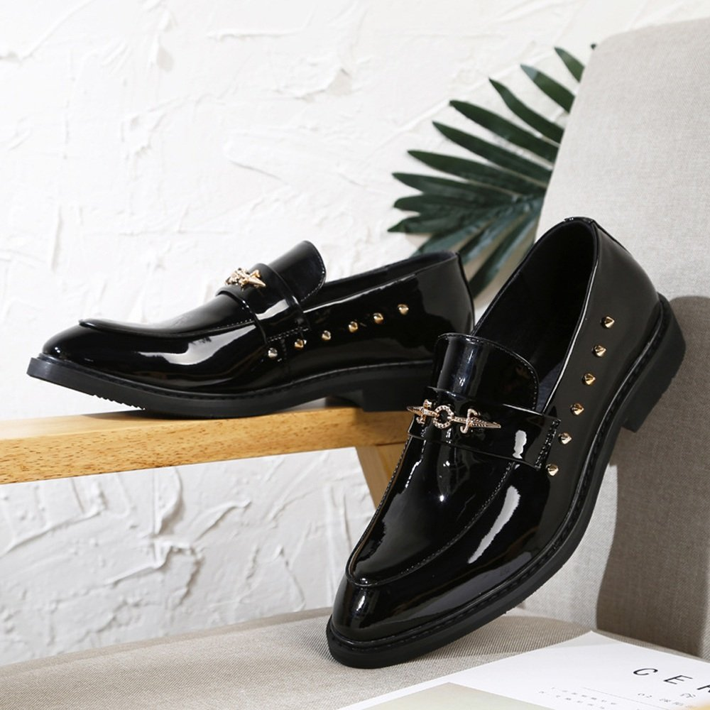 YLY Mens Punk Style Shoes Smooth PU Leather Prom Loafer Slip-on Breathable Lined Oxfords with Rivets Black Dress Shoes