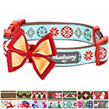 "Blueberry Pet 14 Patterns Moments of Joy Vintage Snowflakes Christmas Designer Dog Collar, Small, Neck 12""-16"", Adjustable Collars for Dogs"