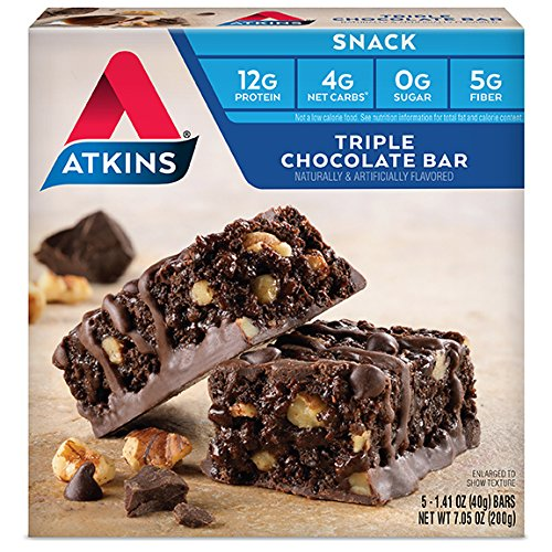 Atkins Snack Bars, Triple Chocolate 12g Protein, 0g Sugar, 4g Net Carbs, 7.05-Ounce, 5-Bars (Packaging May Vary) (Bar Chocolate Sugar)