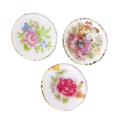 3pcs Assiettes en Porcelaine Céramique Moderne Coloré Miniature pour 1/12 Maison de Poupée
