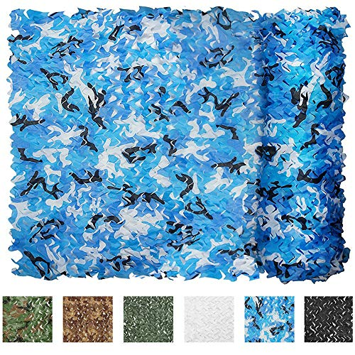 IUNIO Camouflage Netting Camo Net Blinds for Sunshade Camping Shooting Hunting Decoration (Aqua Blue, 16.4ftx5ft 5mx1.5m)