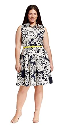 78fe35fc389 Melonie T Women s Plus Size Printed Floral Shirt Dress with Belt  (Navy White Floral Print