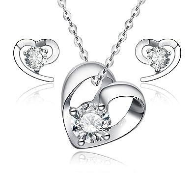 c87591f8468a Plata de Ley 925 corazón joyas – Collar con colgante – con 18 pulgadas  cadena rolo