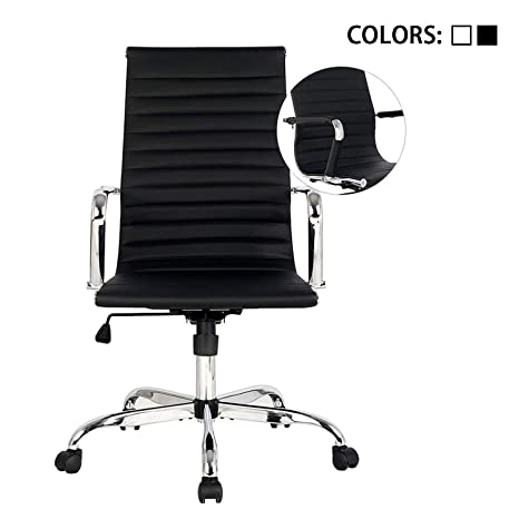 Elecwish,Adjustable Office Executive Swivel Chair, High Back Padded, Tall Ribbed, Pu Leather, Wheels Arm Rest Computer, Chrome Base, Home Furniture, ...