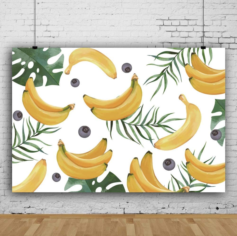 7x5ft Tropical Fruit Leaves Background for Photography Child Summer Party Events Decoration Poster Newborn Kids Baby Portrait Photoshoot Backdrop Photo Studio Prop Vinyl