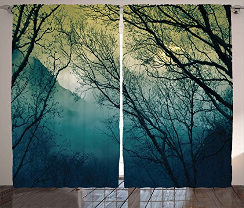 Ambesonne Nature Decor Curtains by, Surreal Morning Fog in Mist Forest Mountain Valley Habitat Themed Himalayan Print, Living Room Bedroom Window Drapes 2 Panel Set, 108W X 63L Inches, Blue from Ambesonne