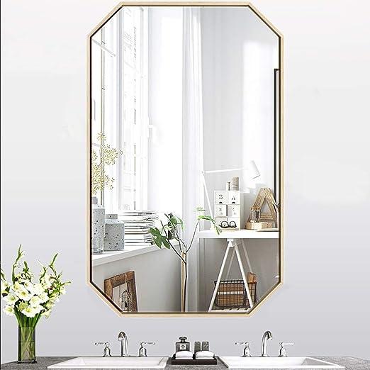 Espejo de Baño Espejo Maquillaje Espejo de tocador Espejo de baño de hierro forjado nórdico, Espejo de maquillaje de pared, Espejo de vanidad octagonal creativo, Espejo de afeitar, Espejo decorativo,: Amazon.es: Hogar
