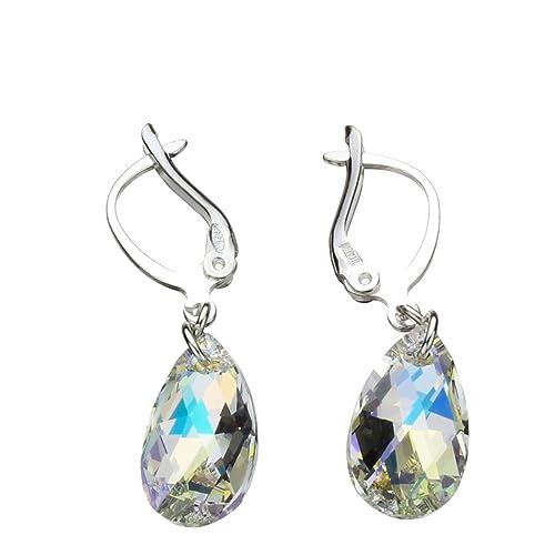 1456ffaee Sterling Silver Leverback Earrings Aurora Borealis Pear Teardrop Made with Swarovski  Crystals