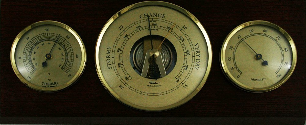 Fischer Instruments 9103-22 Solid Mahogany and Brass Thermometer, Hygrometer, Barometer Traditional Weather Station