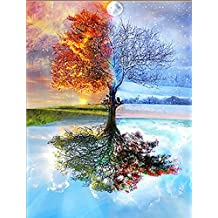 DIY 5D Diamond Painting by Number Kits, Full Drill Crystal Rhinestone Embroidery Pictures Arts Craft for Home Wall Decor Gift (Sunset tree shadow, 11.815.7 inch)