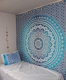 Madhu International Hippie Mandala Blue Tapestry Multi Purpose Cotton Decorative Wall Hanging