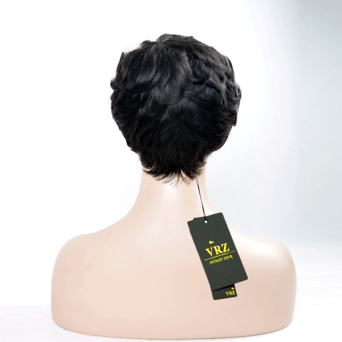 VRZ Short Black Wavy Human Hair Wigs Color 1B(8815B) by VRZ (Image #5)
