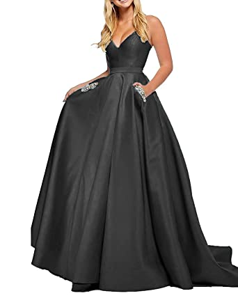 2e18e1a75a1 Long Prom Dresses with Pockets 2019 Satin V-Neck Beaded Backless Formal  Ball Gowns for