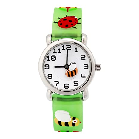 Amazon.com: TOPCHANCES Kids Watches 3D Cute Cartoon Children Silicone Wrist Watches Time Manage Teacher Gifts for Boys Girls (Green bee): Sports & Outdoors