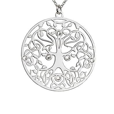 7abc59a7bd3a AKA Joyas - Colgante Mujer Árbol de la Vida y Cristales Swarovski Collar  Plata de Ley