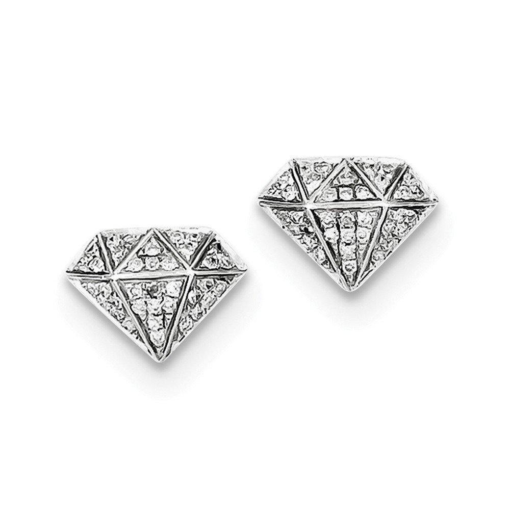 Sterling Silver Rhodium Diamond Screwback Post Earrings