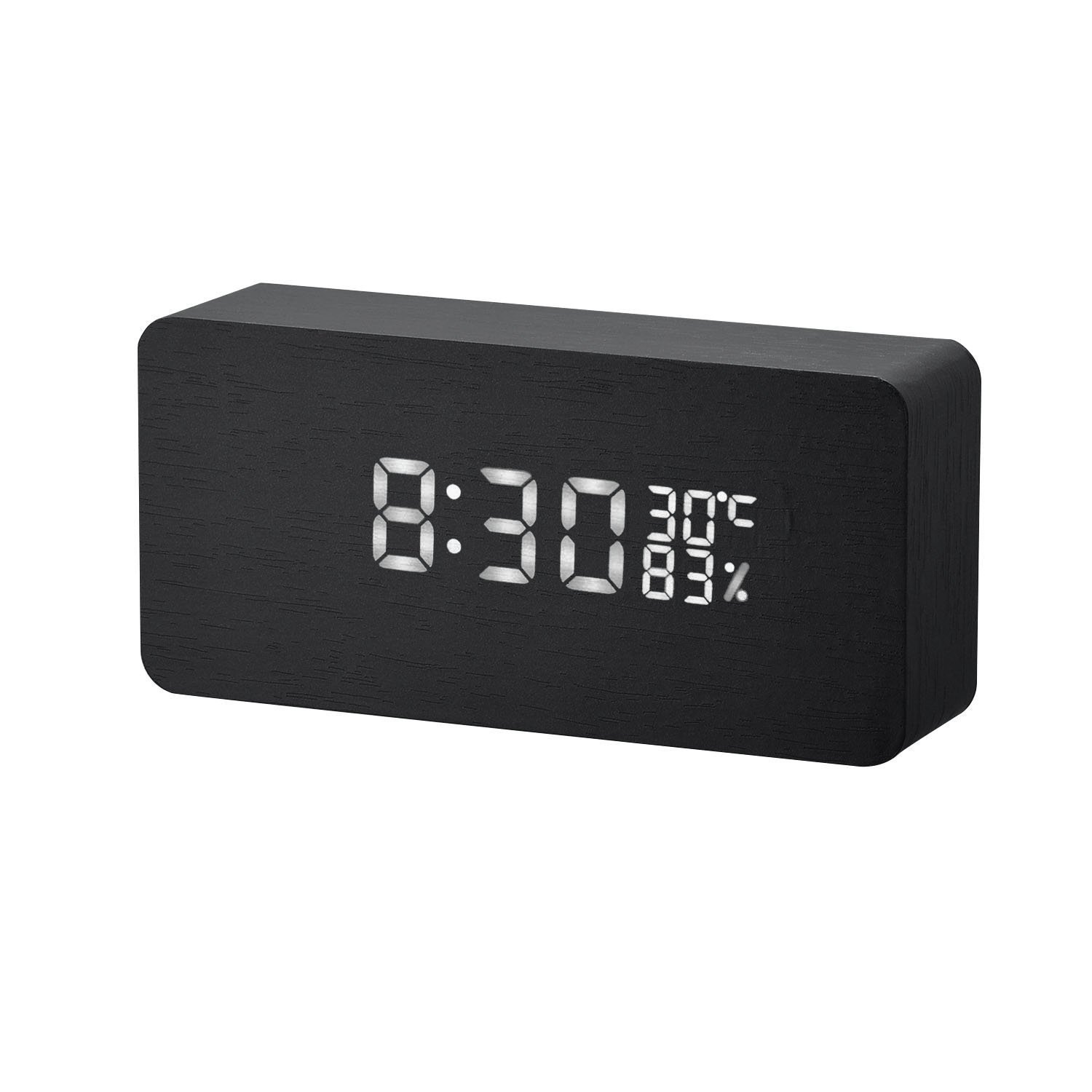 EKSAVE Alarm Clock Imitation Wooden LED Digital, Displays Time Date Week And Temperature, Cube Wood-shaped Sound Control Desk Alarm Clock for Kid, Home, Office, Daily Life
