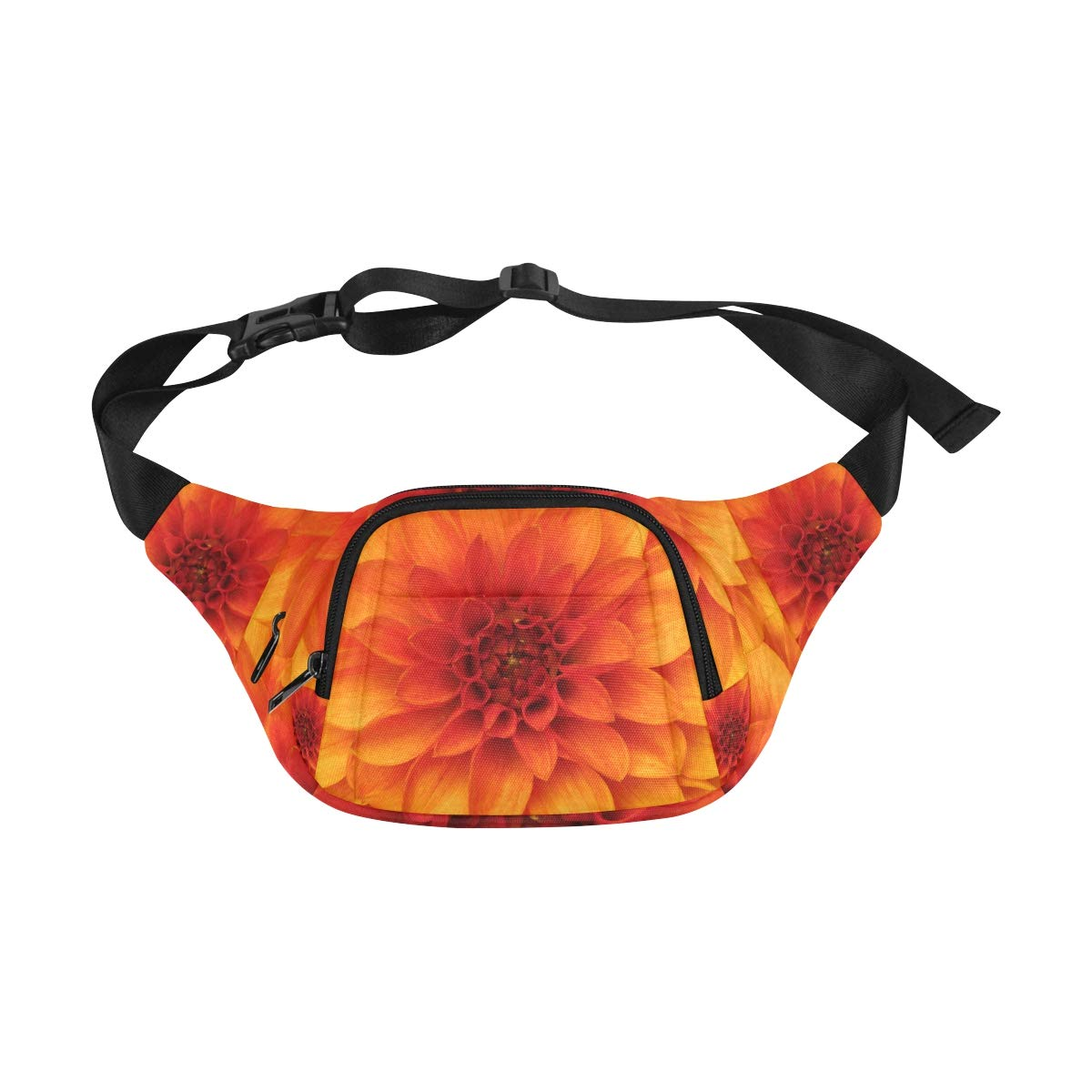 Orange Dahlia And Beautiful Petals Fenny Packs Waist Bags Adjustable Belt Waterproof Nylon Travel Running Sport Vacation Party For Men Women Boys Girls Kids