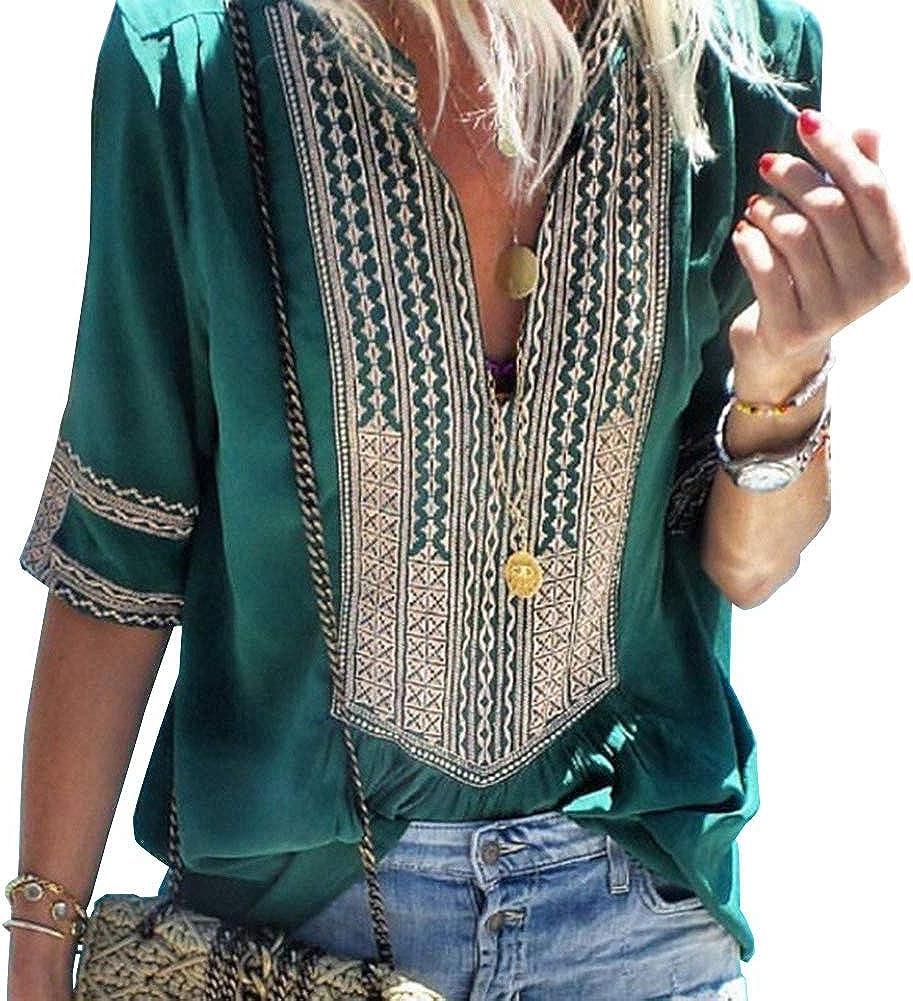Naroote Magliette da Donna Stile Etnico Boemo Sciolto Manica Corta V-Collo Top con Stampa Floreale