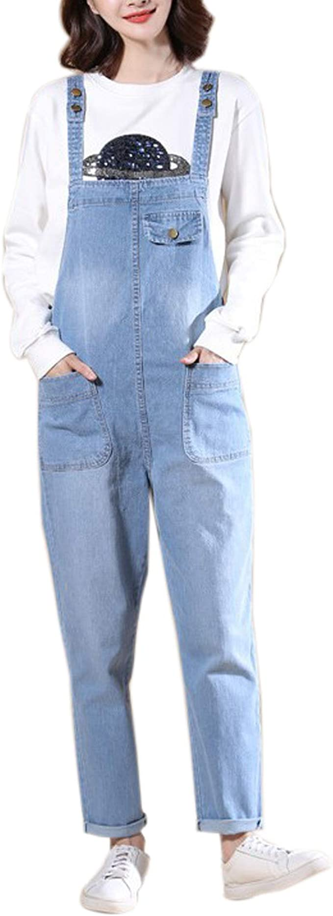 Elonglin Womens Dungarees Overalls Loose Fit Casual Baggy Pants Denim Bib Overall Jeans Jumpsuits Straps Demin Trousers Rompers