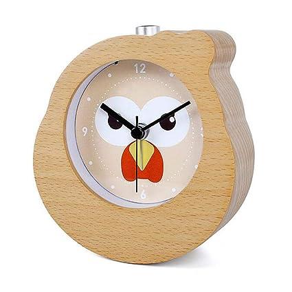 guyuell Chinese Zodiac Gallo Snooze De Madera Reloj Despertador Reloj De Mesa De Madera Relojes De