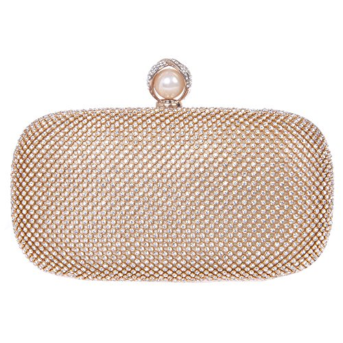 Fawziya Pearl Purse Bling Box Crystal Rhinestone Clutch Evening Bag-Gold (Silk Evening Shoes)