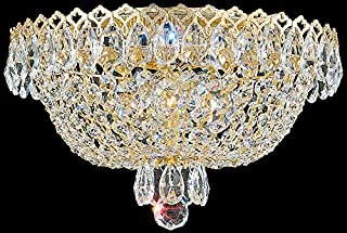 product image for Schonbek 2616-40 Swarovski Lighting Camelot Flush Mount Lighting Fixture, Polished Silver