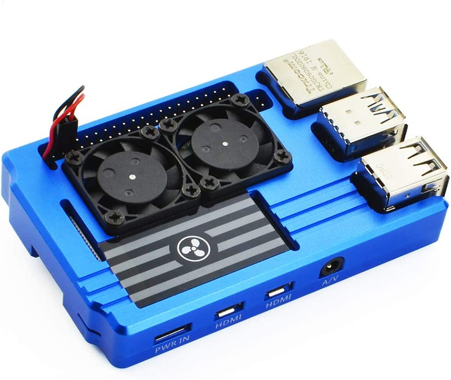 Corkea Aluminum Alloy Case with Dual Cooling Fan for Raspberry Pi 4 Model B(Blue)