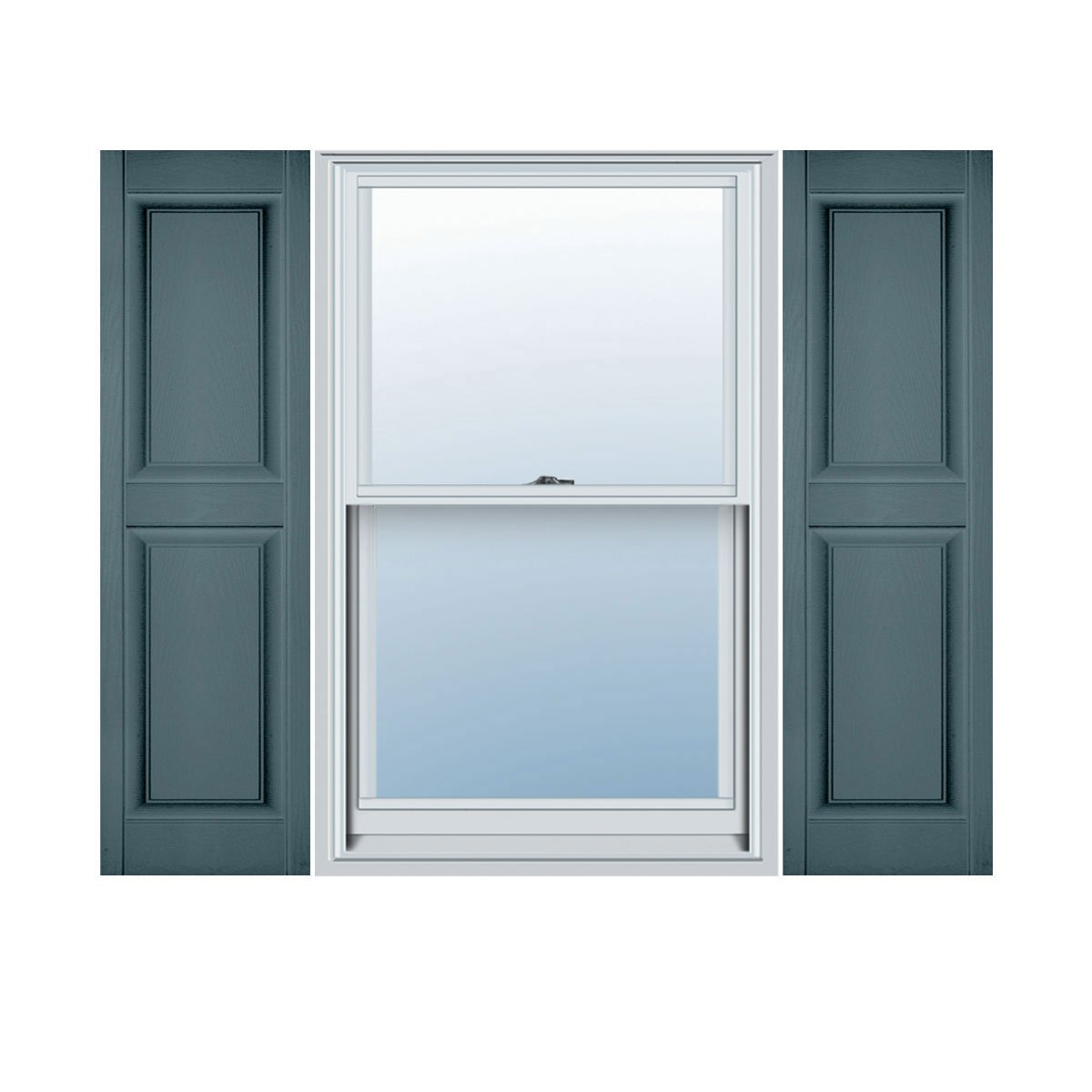 Per Pair 12W x 35H Wedgewood Blue Mid America 00021235004 Standard Size Williamsburg Double Panel Shutter
