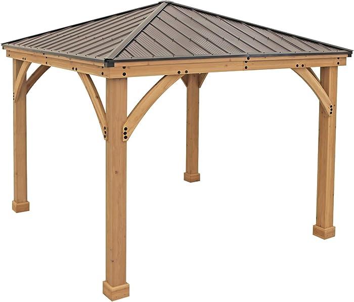 Yardistry 10' x 10' Wood Gazebo with Aluminum Roof