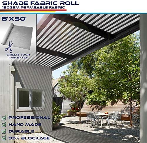 Windscreen4less Light Grey Sunblock Shade Cloth,95 UV Block Shade Fabric Roll 8ft x 50ft