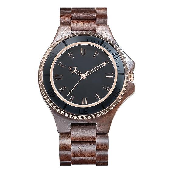 Kenon Outdoor Waterproof Sport Reloj de madera digital Reloj grande de cuarzo con gafas de sol