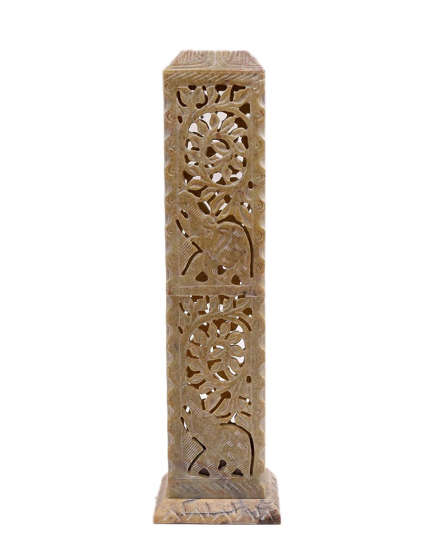ArtistZila Decorative Incense and Candle Holder Handmade Night Lamp Tealight Carved Soapstone Square Pillar Elephant Floral Vine Work for Home Decor Gift