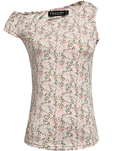 Flower Cap Sleeve Tee (Camii Mia Women's Flower Print Tunic Tops Cap Sleeve Casual T shirt (Large, Pink))