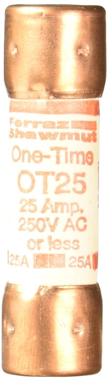 Mersen OT Class K-5 General Purpose Fuse 9//16 Diameter x 2 Length 25 Ampere 50kA AC//20kA DC 250VAC//DC