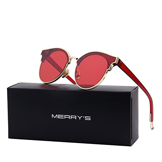 57924fce2e Amazon.com  MERRY S Cat Eye Sunglasses for Women Glasses Semi Rimless  Sunglasses S8082 (Red