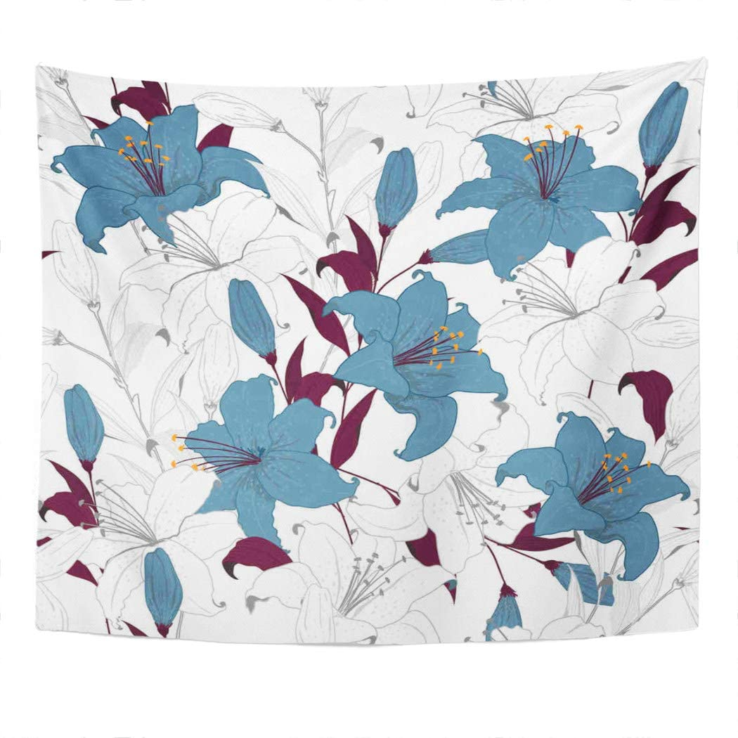 Suklly Tapestry Wall Hanging Garden Lily Flowers Botanical Random Fashion in Tecnic White Unfinished Home Decor Polyester Living Bedroom Dorm 50 X 60 Inches Picnic Mat Beach Towel Bed Cover